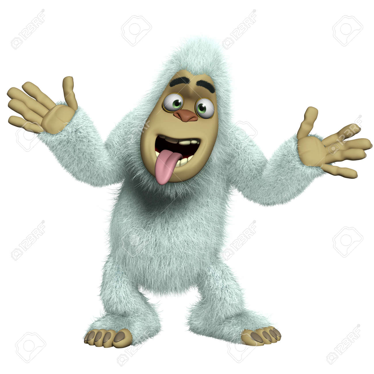 Cartoon crazy white yeti stock photo picture and royalty free