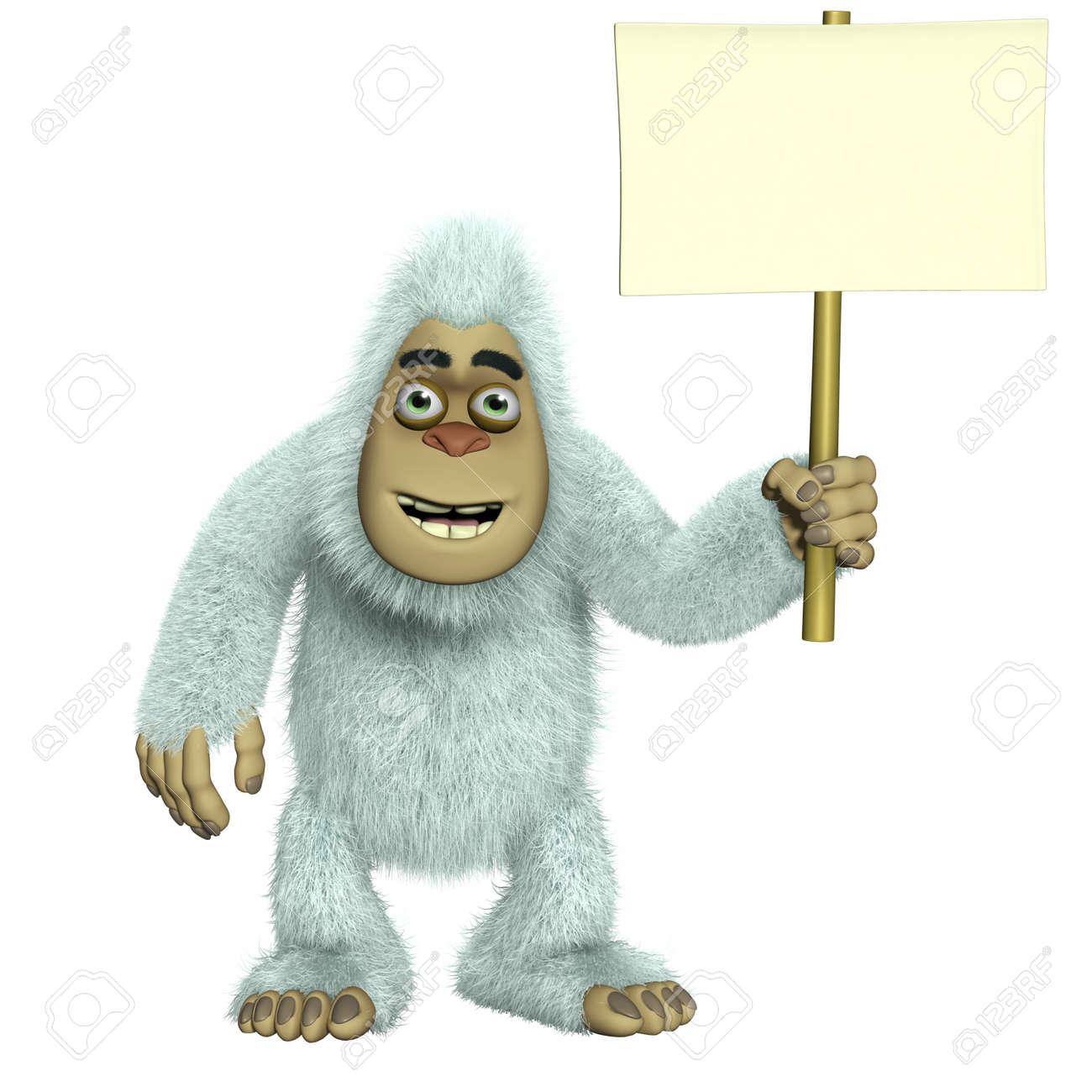 white yeti holding  blank Stock Photo - 15731915
