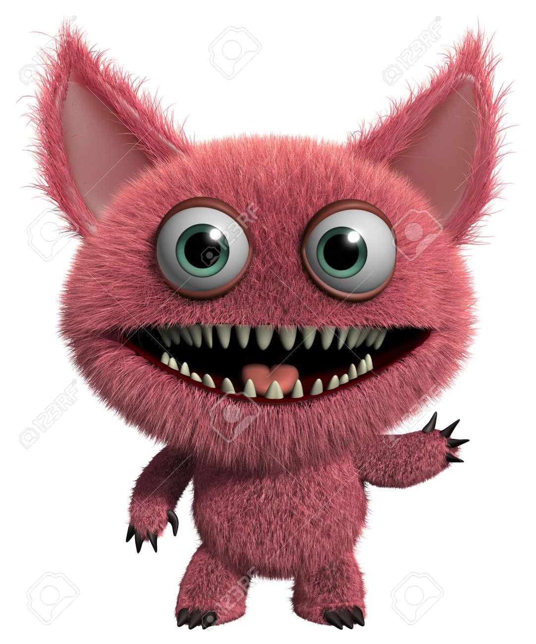 3d cartoon cute furry gremlin monster Stock Photo - 15743576