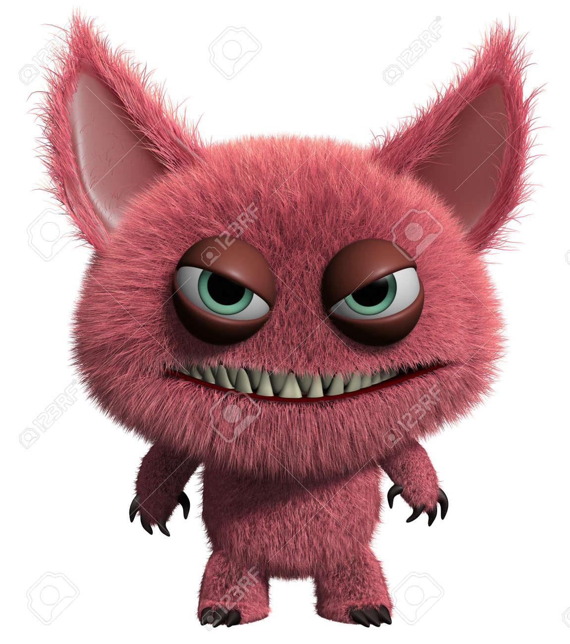 3d cartoon cute furry gremlin monster Stock Photo - 15743619