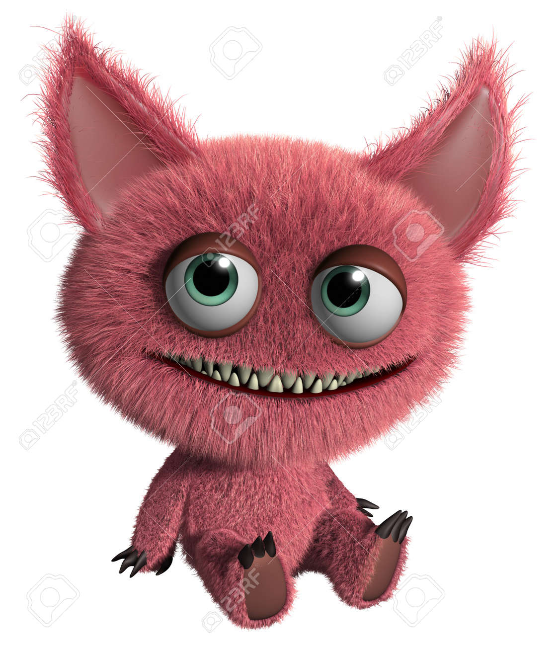 3d cartoon cute furry gremlin monster Stock Photo - 15743614
