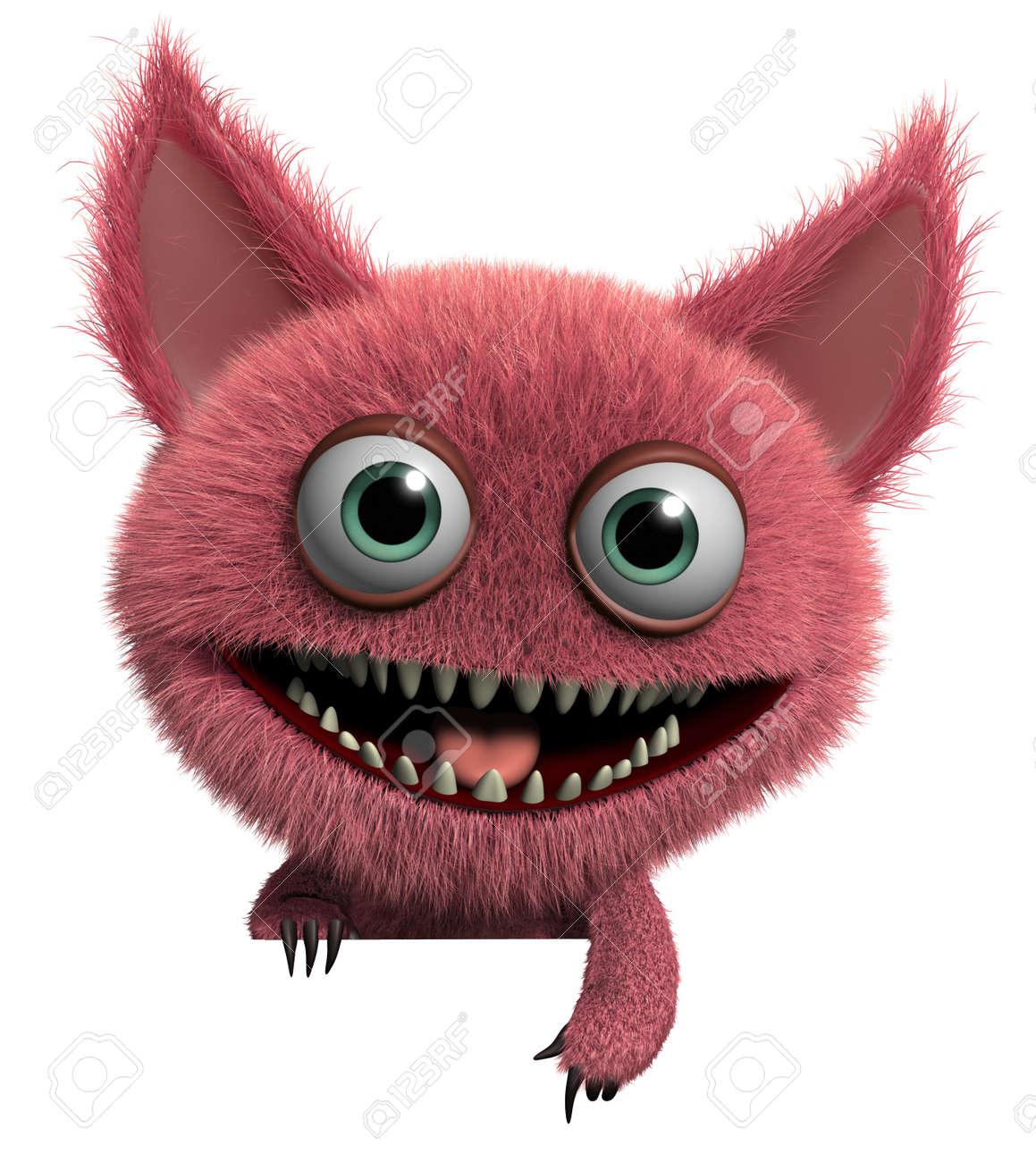 3d cartoon cute furry gremlin monster Stock Photo - 15743537