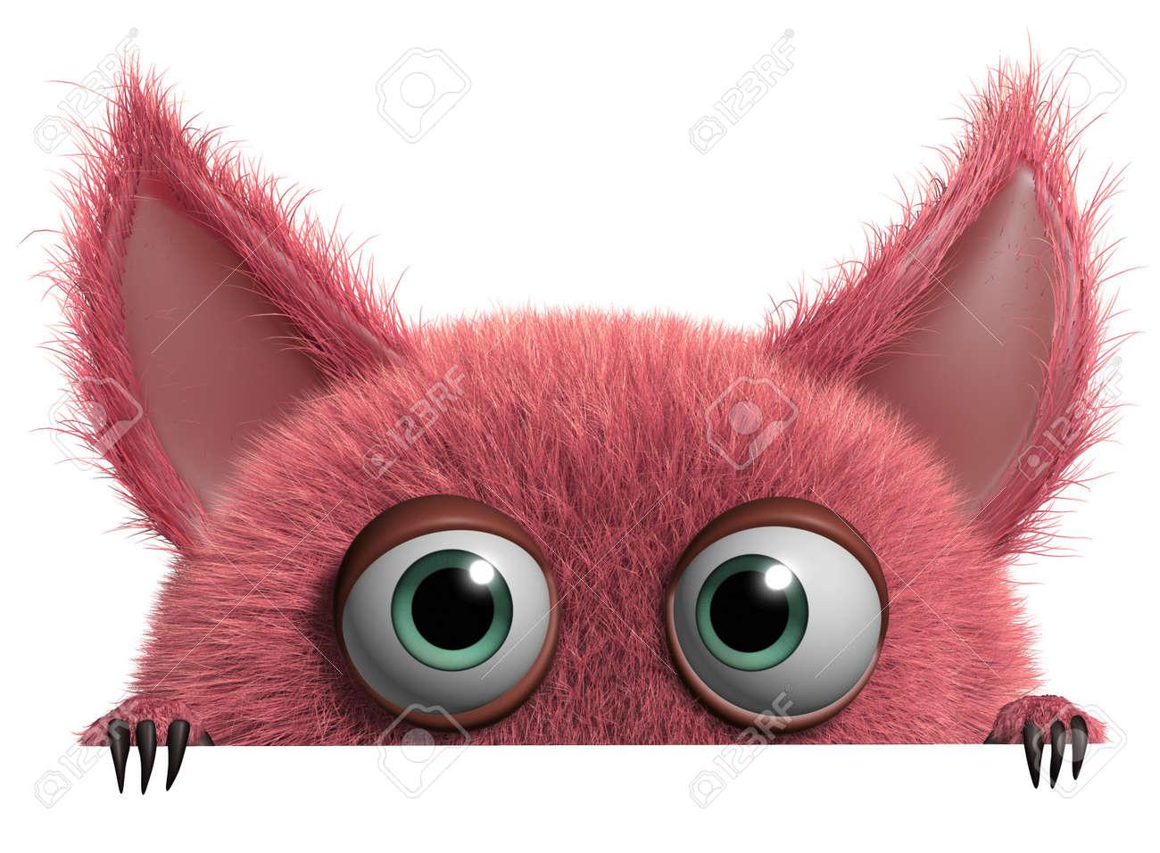 3d cartoon cute furry gremlin monster Stock Photo - 15743470