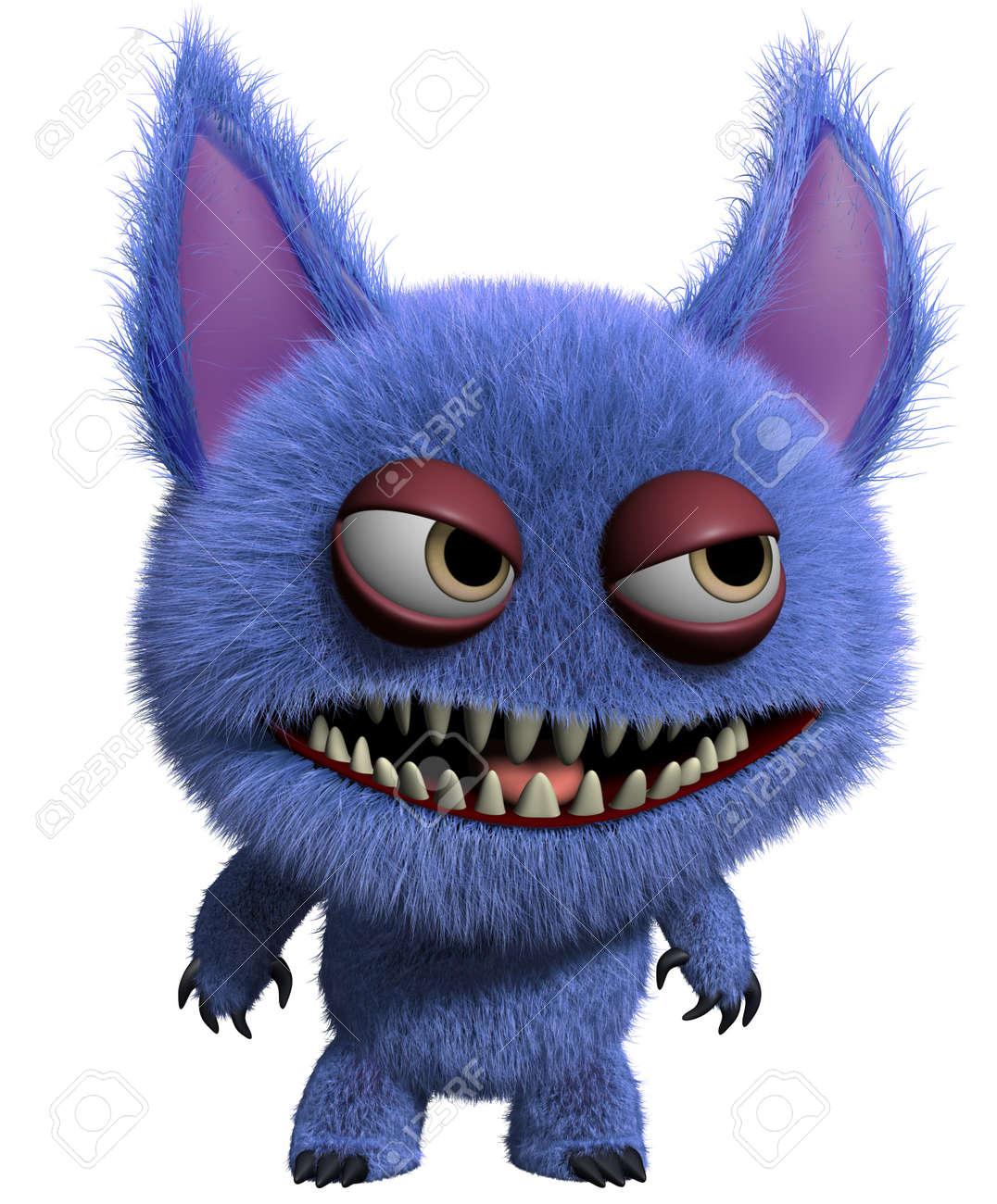 3d cartoon cute furry gremlin monster Stock Photo - 15743588