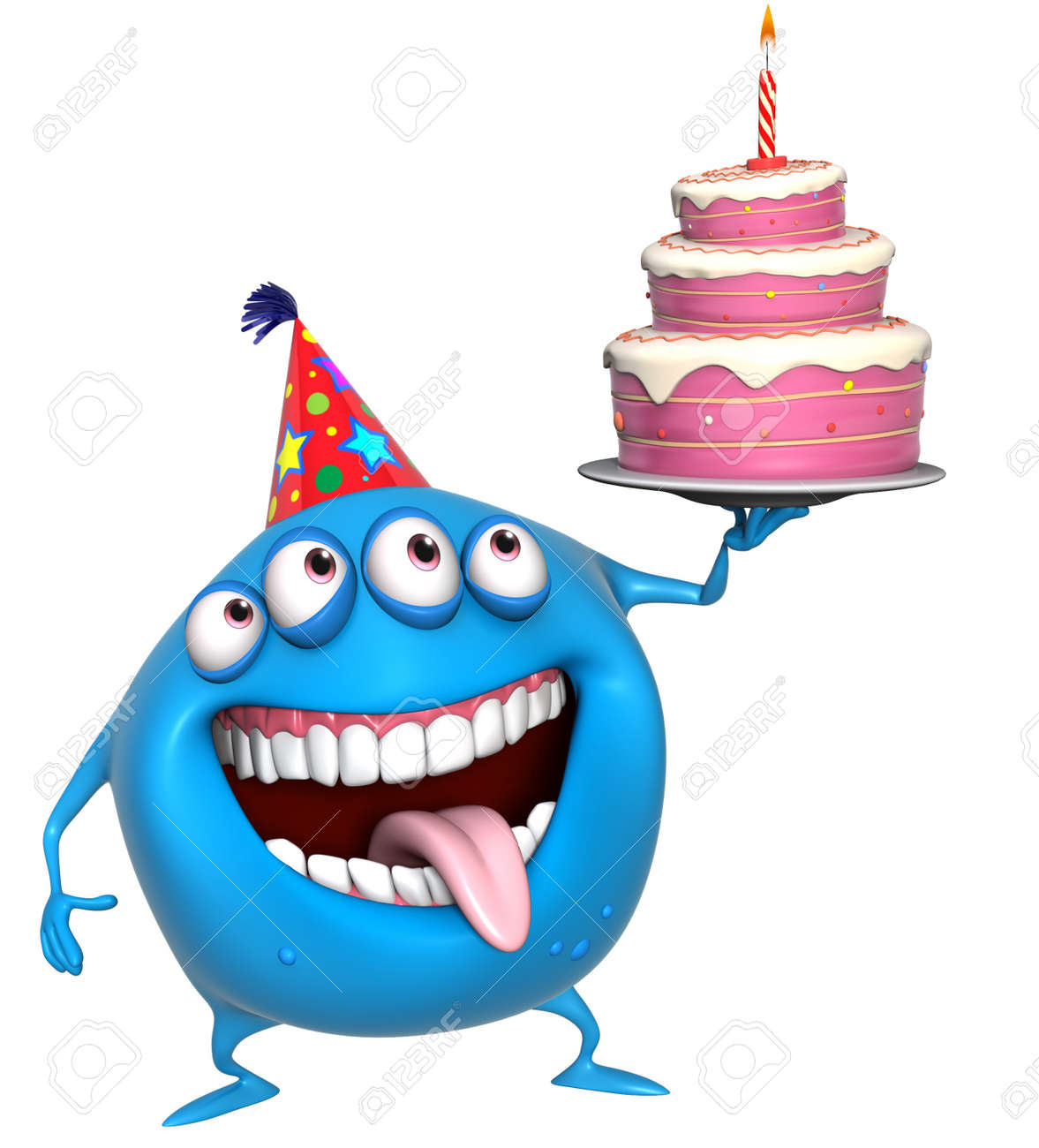 Astonishing 3D Cartoon Birthday Monster With Cake Stock Photo Picture And Personalised Birthday Cards Arneslily Jamesorg