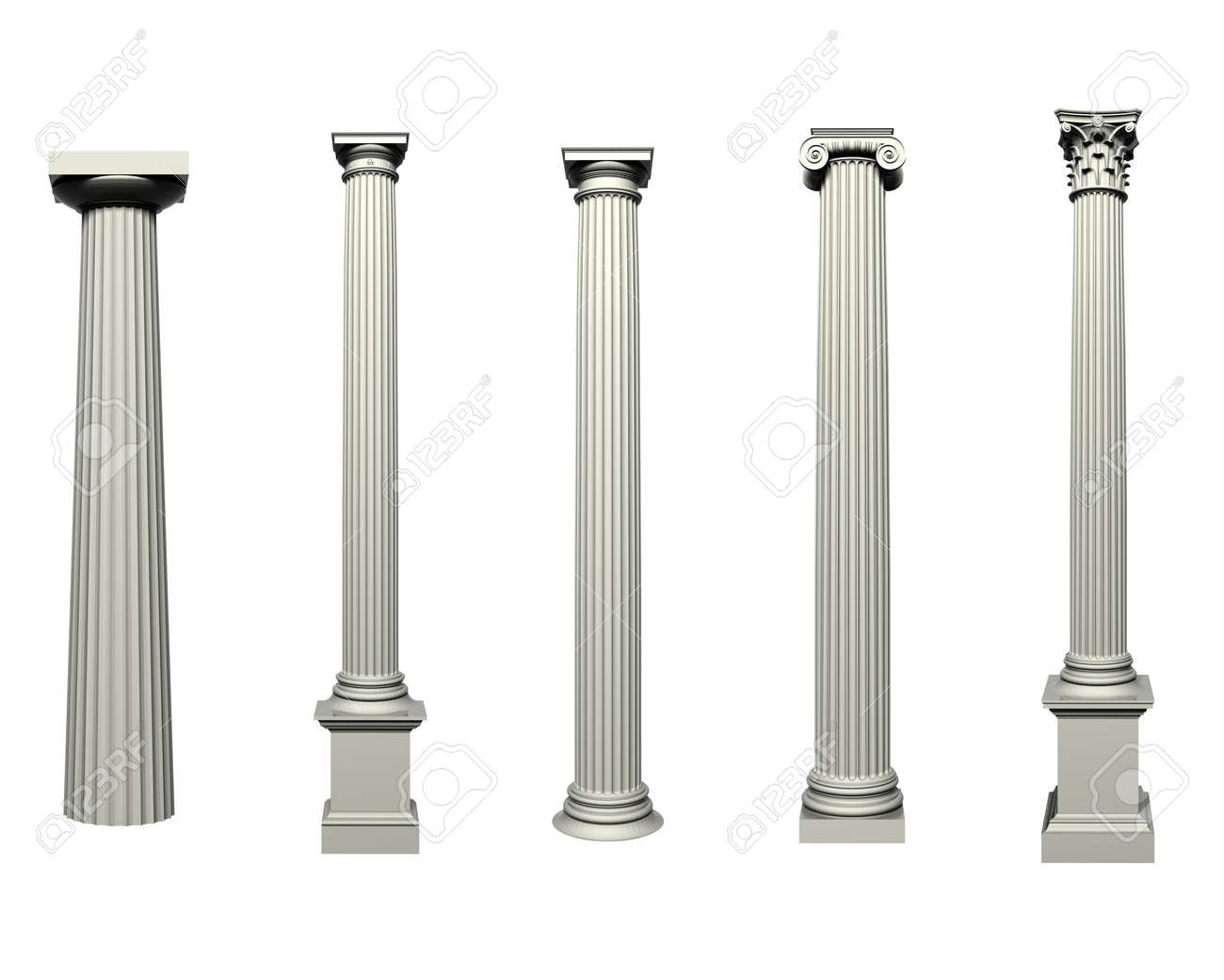 set of doric ionic and corinthian columns stock photo 45261763