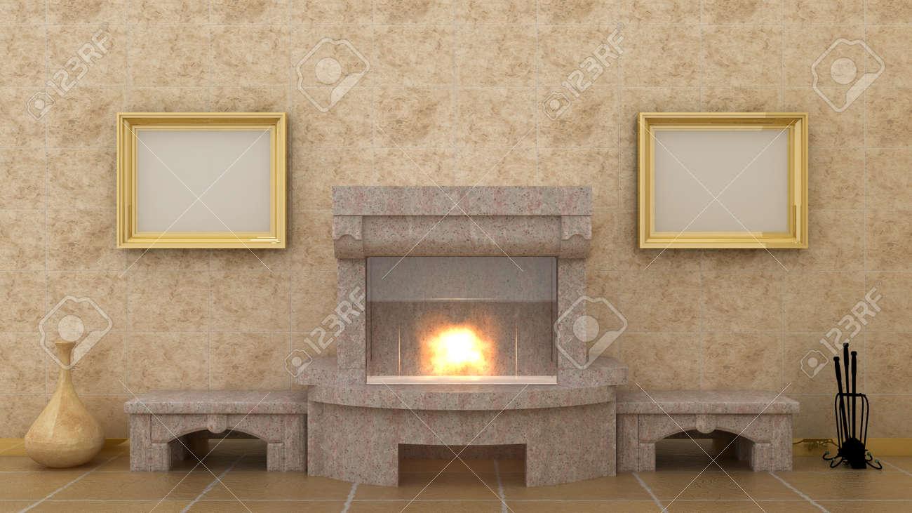 image vide au dessus de la cheminée dans le fond d'intérieur