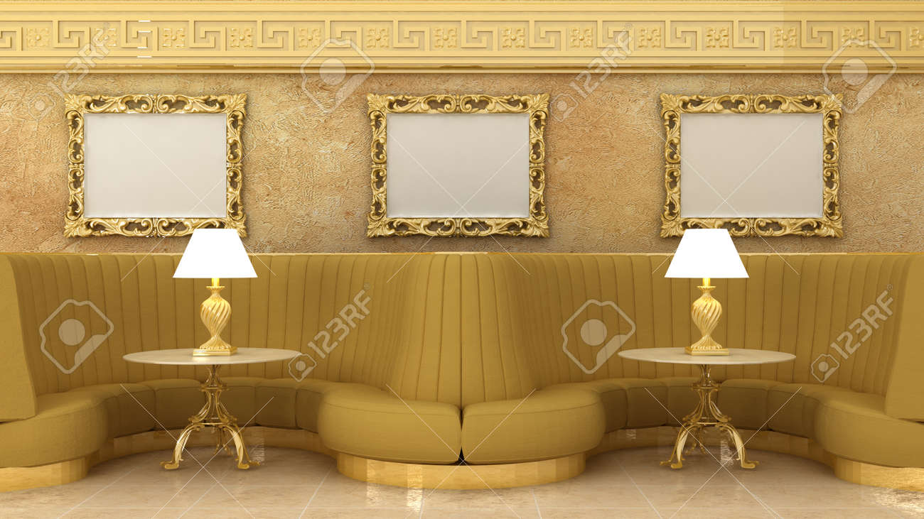 Empty Golden Picture Frames In Classic Cafe Interior Background ...