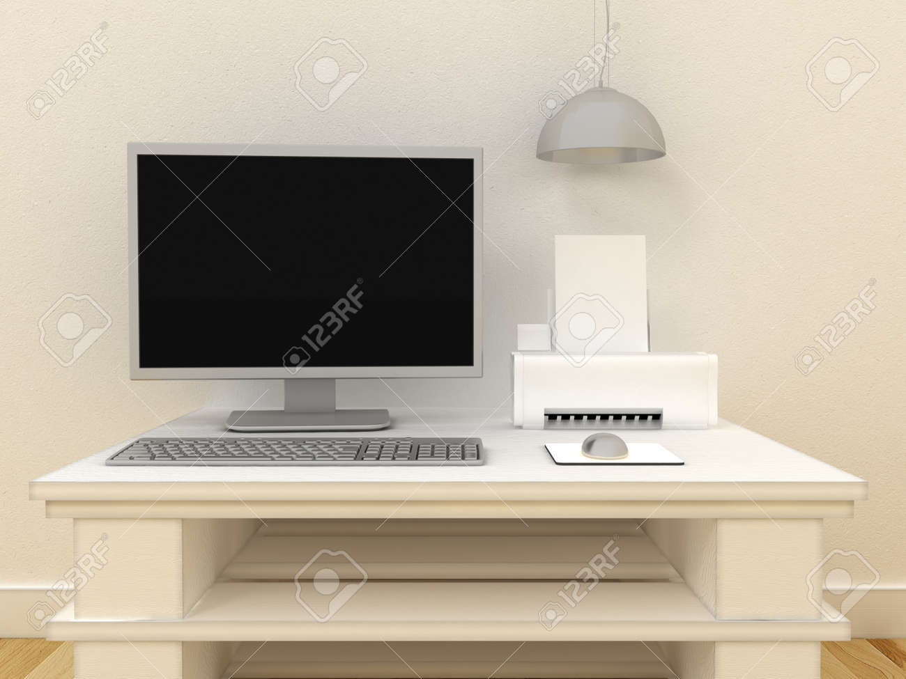 Empty PC Computer Monitor With Ink Jet Or Laser Printer On Table In Modern  Classic Interior