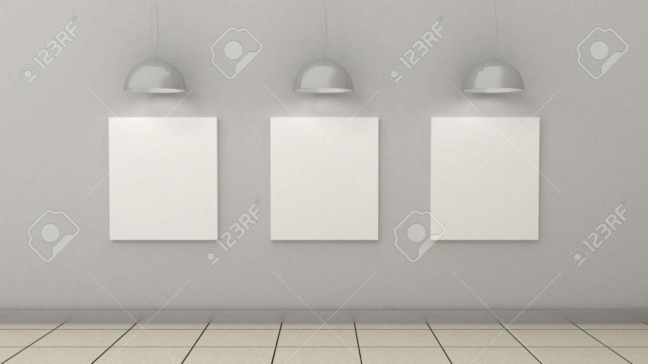 Cadres Vides Dans Un Fond Intérieur Moderne Sur Le Mur De Peinture Blanche Avec Sol Carrelé En Béton Copiez L Image De L Espace