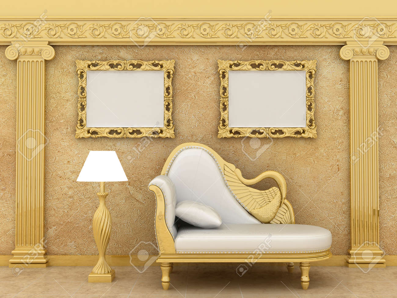 Empty Picture Golden Frames In Luxury Interior Background On.. Stock ...