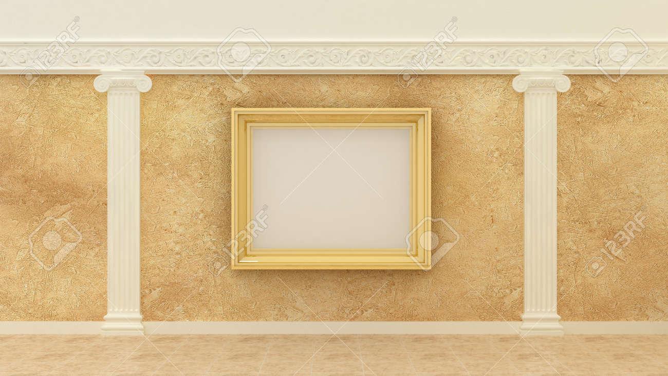 Cadre Photo Vide Doré En Fond Intérieur De Luxe Classique Sur Le Mur De Peinture Décorative Avec éléments Grecs Ioniques De Décoration En Plâtre Et