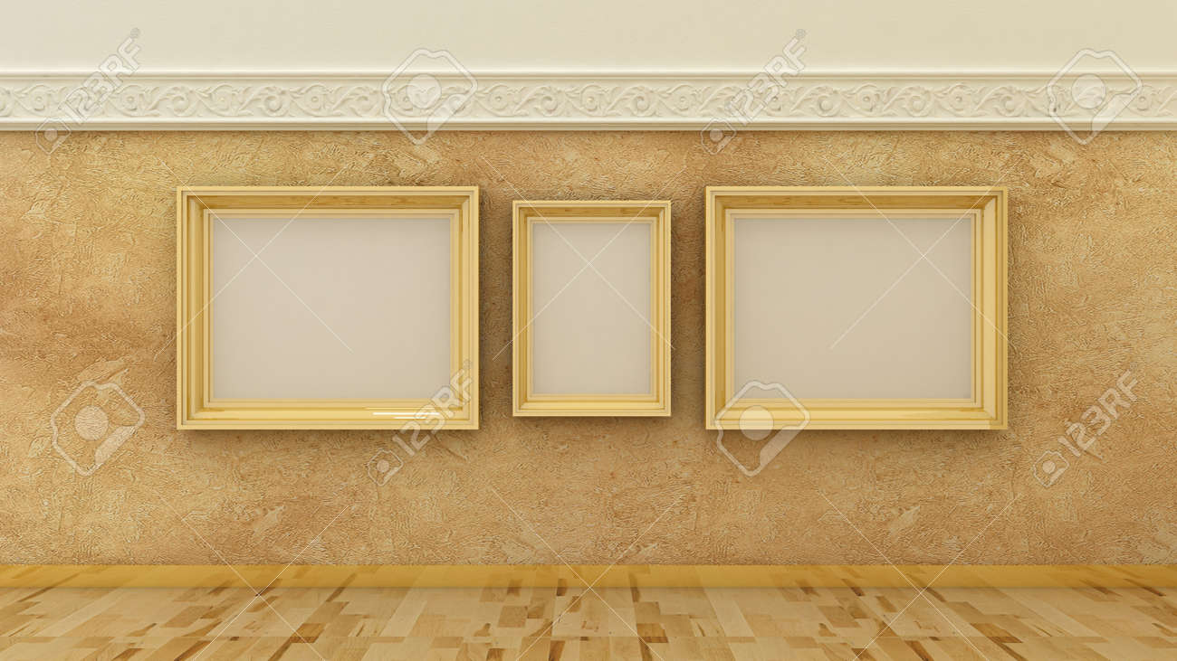 Empty Picture Golden Frames In Classic Luxury Interior Background ...