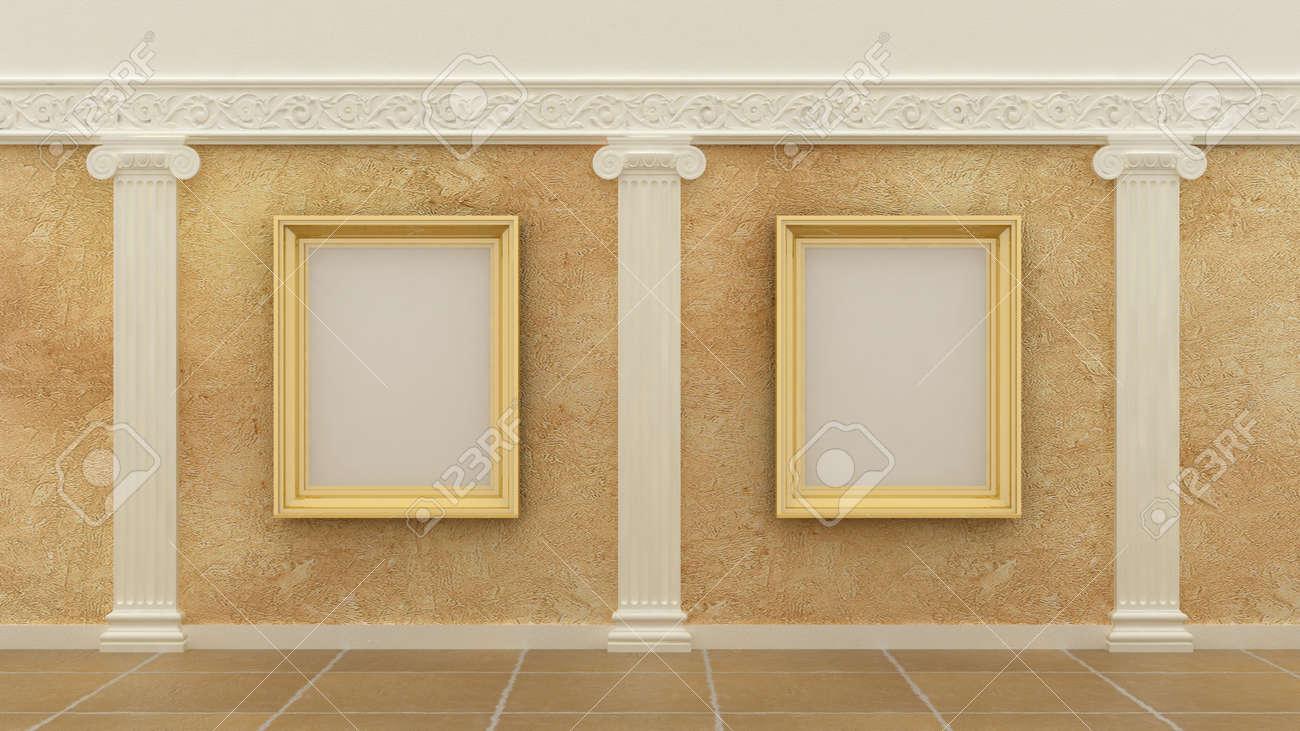 Image Vide Cadres Dorés En Arrière Plan Intérieur De Luxe Classique Sur Le Mur De Peinture Décorative Avec Des éléments Grecs Ioniques De Décoration