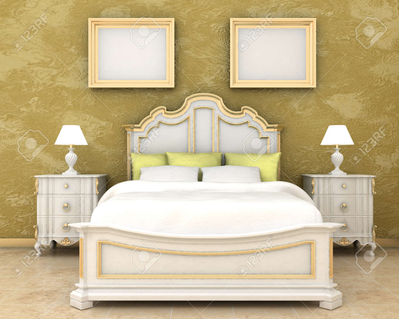 Interior Decoration Of Luxury Bedroom Bed, Night Stand And Picture ...