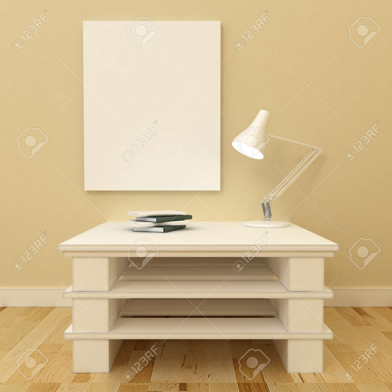 Empty Picture Frames In Classic Interior Background On The ...