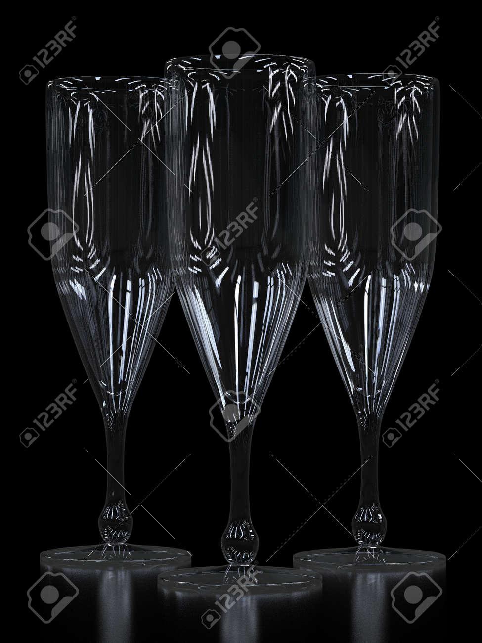 Empty champagne glasses - 12584973