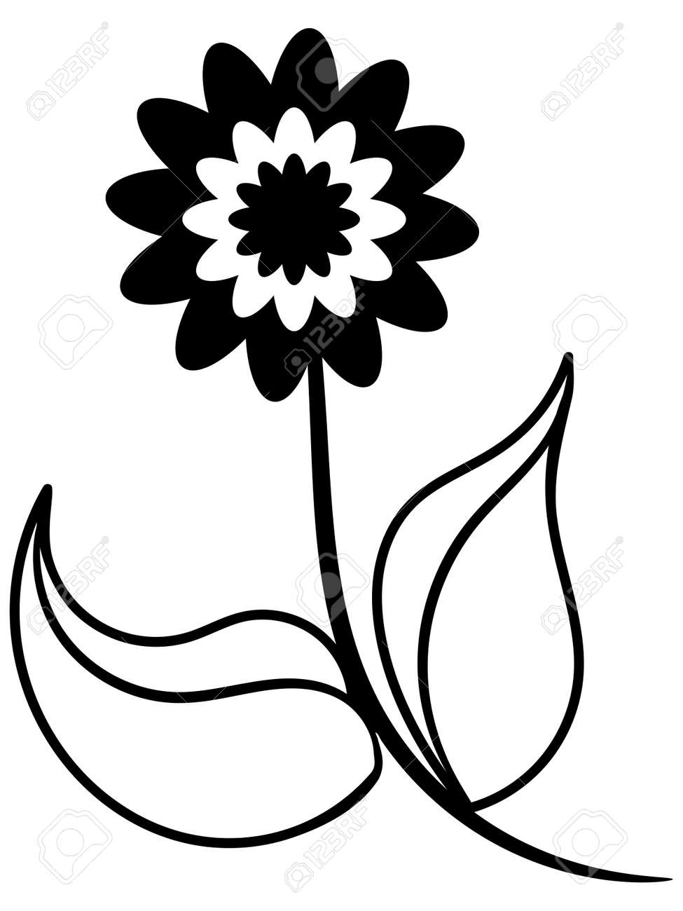 Black and white silhouette of beautiful flower Stock Photo - 19337601
