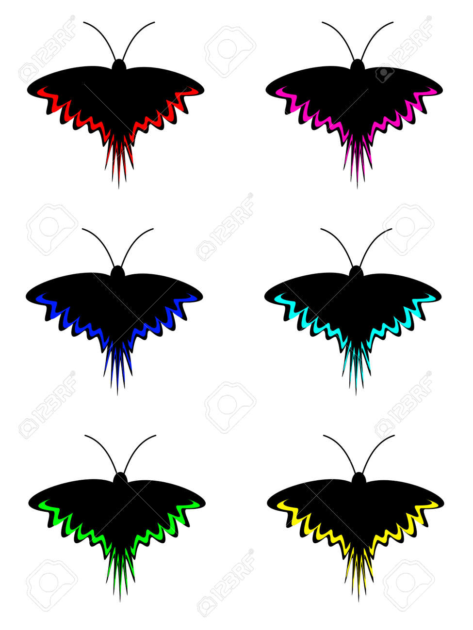 Set of night dark black butterfly with stripes on wings Stock Vector - 19704640