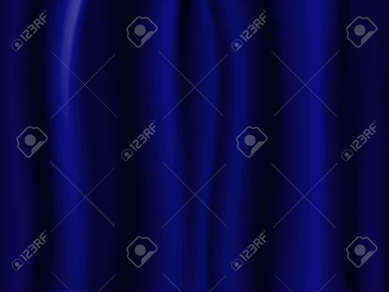 Wavy Dark Blue Curtain Beautiful Like A Wallpaper Stock Photo