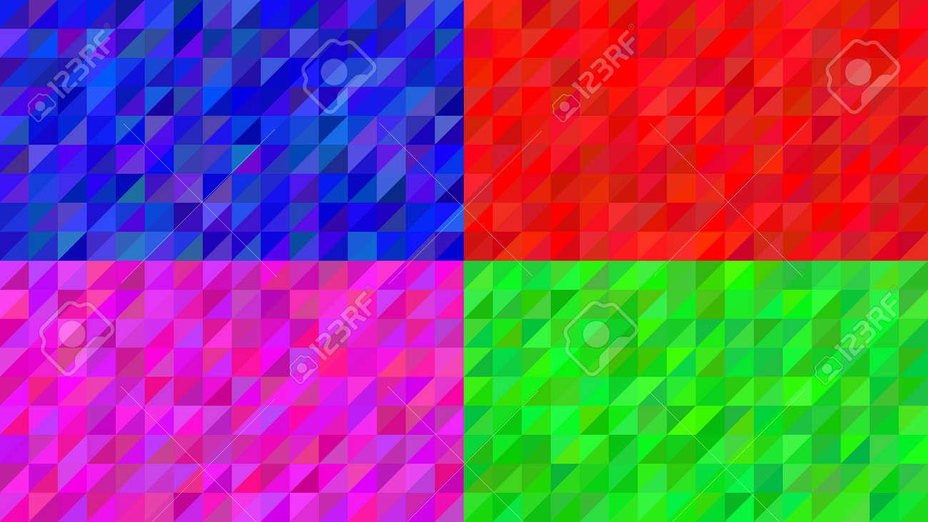 Conjunto De Cuatro Fondos Con Triángulos De Colores Rojo Azul Rosa