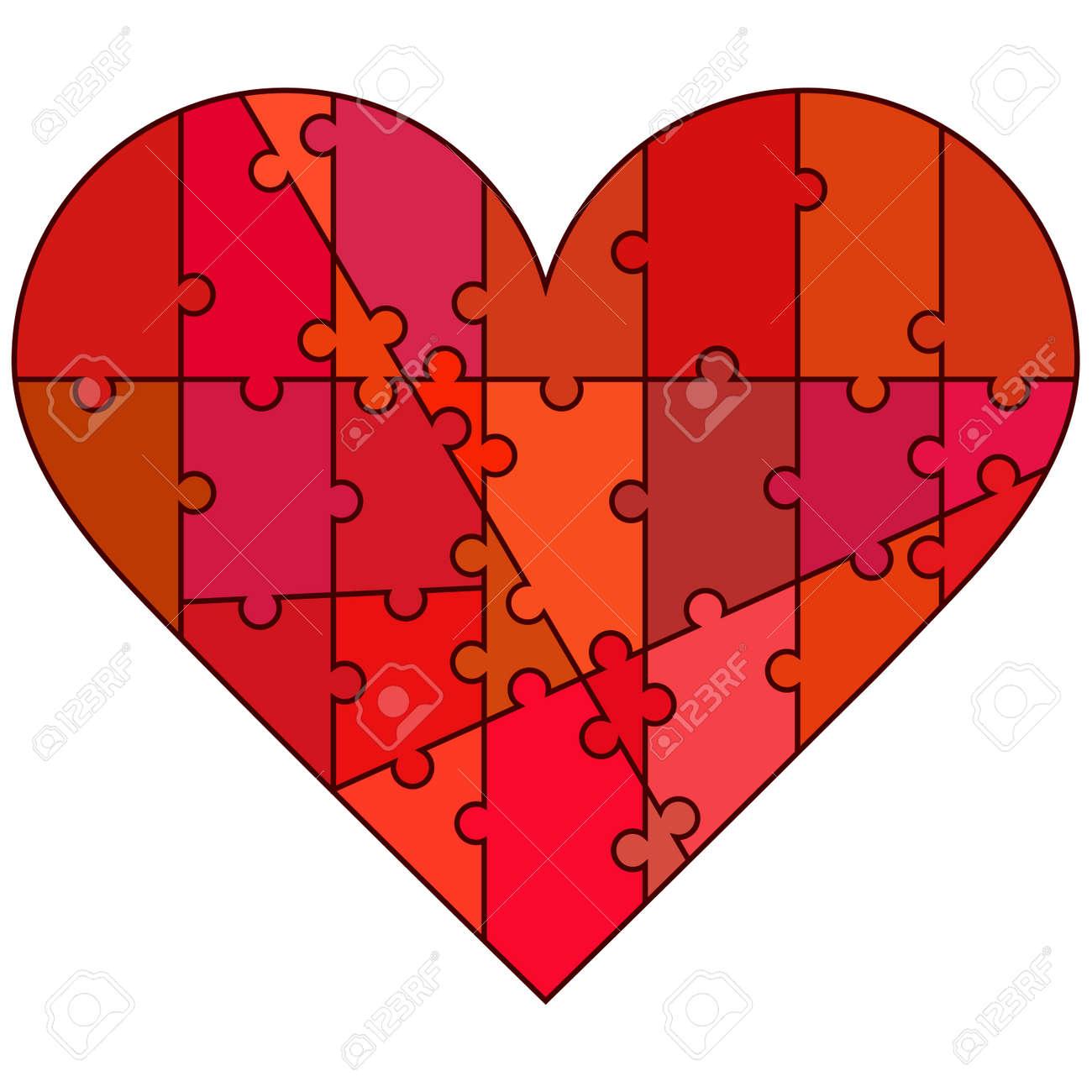Valentine Herzen Von Puzzleteile In Süßen Farben Lizenzfrei Nutzbare ...