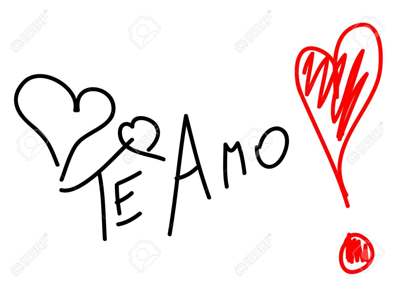 frase te amo en español ilustraciones vectoriales clip art