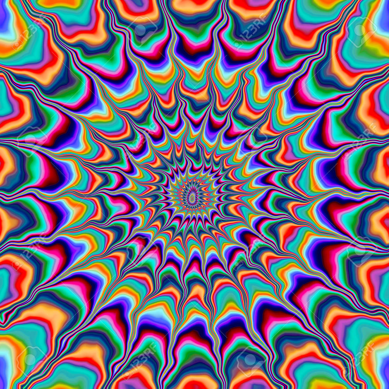 abstract insane psychedelic shapes as crazy wallpaper stock photo