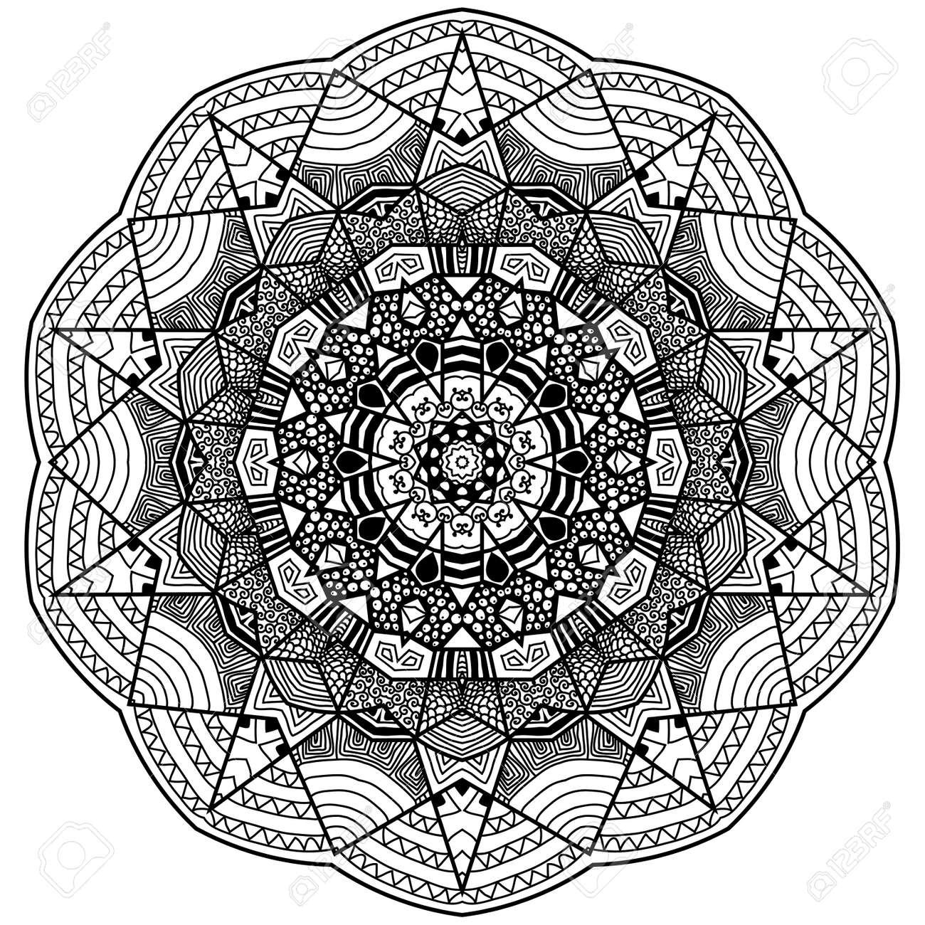 Banque d\u0027images , Mandala dans le style zentangle. Main mandala dessiné  avec des motifs dessinés à la main. Zentangle est auto activité apaisante.