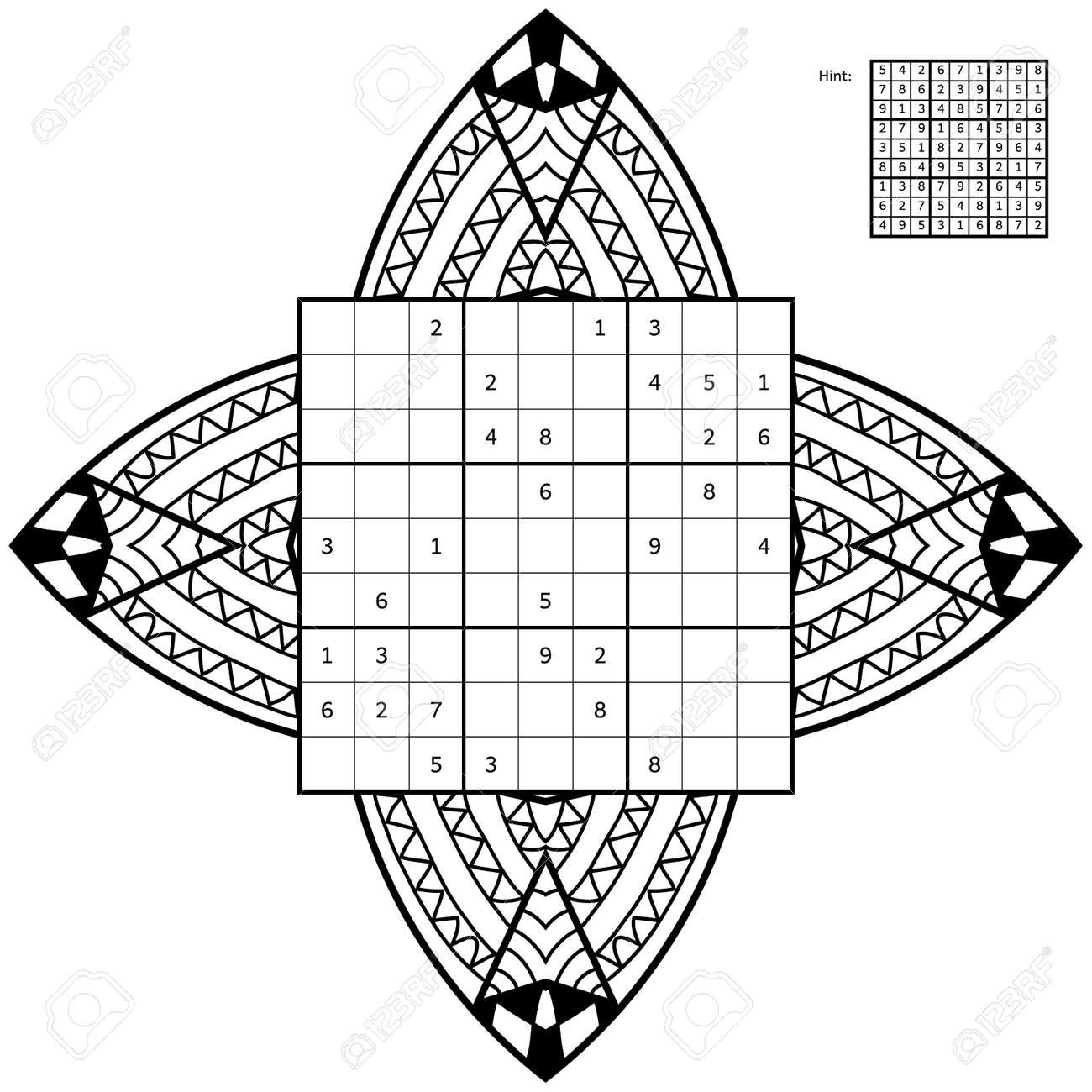 Coloriage Nombre.Sudoku Avec Une Solution Et Antistress Livre De Coloriage Carre