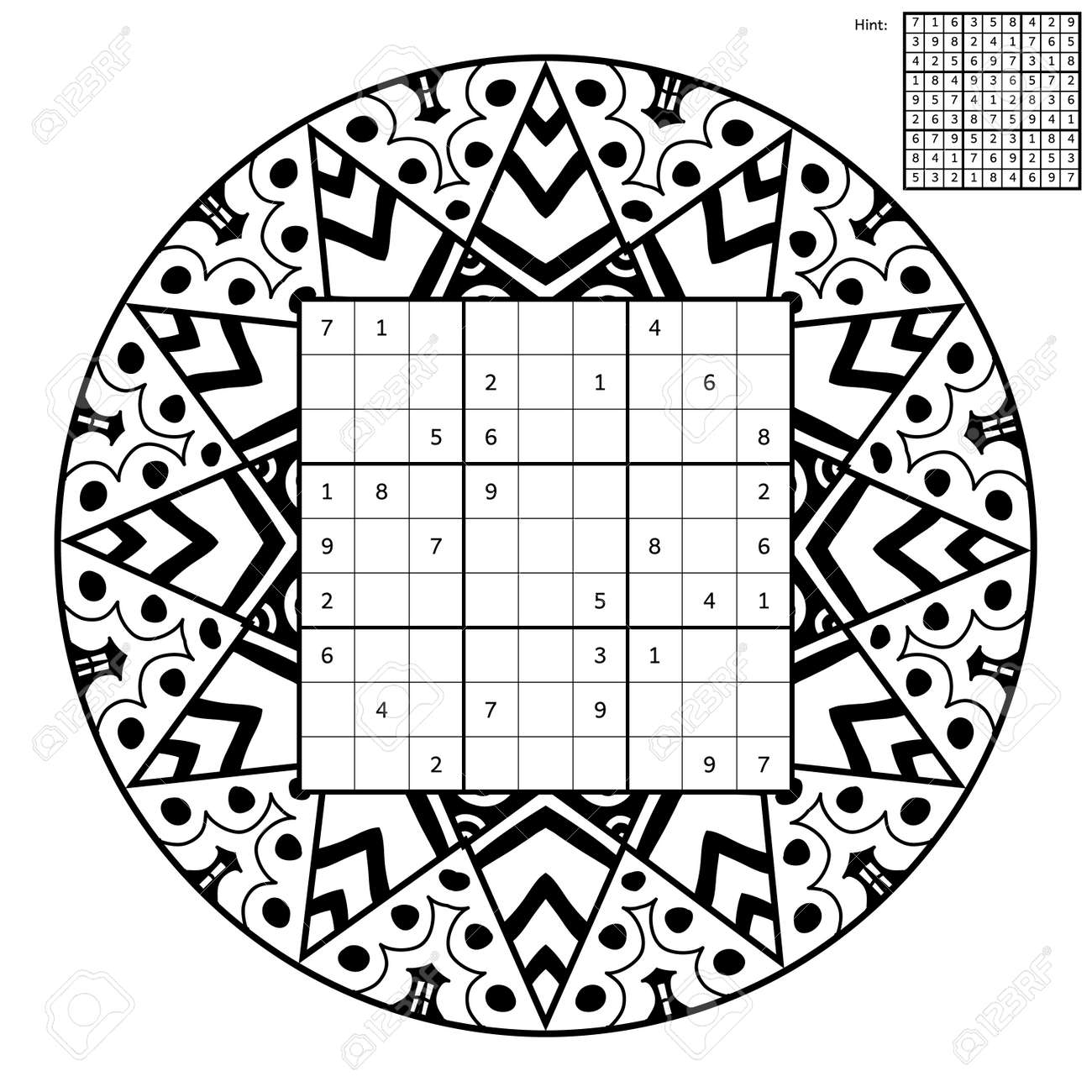Sudoku Con La Solución Y Libro Para Colorear Antiestrés. Cuadrado ...