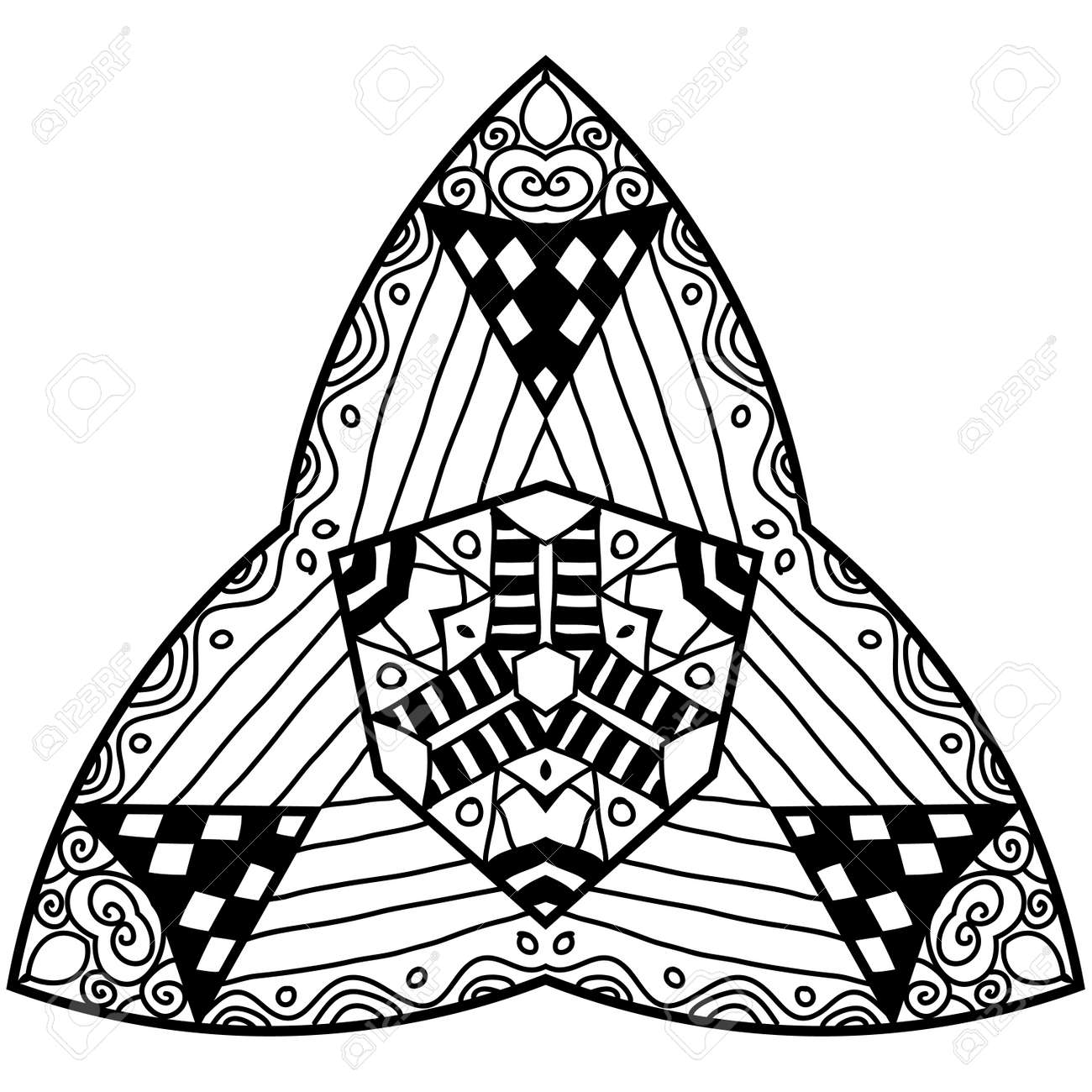 Triangle Element In Zendoodle Style. Hand Drawn Mandala With ...
