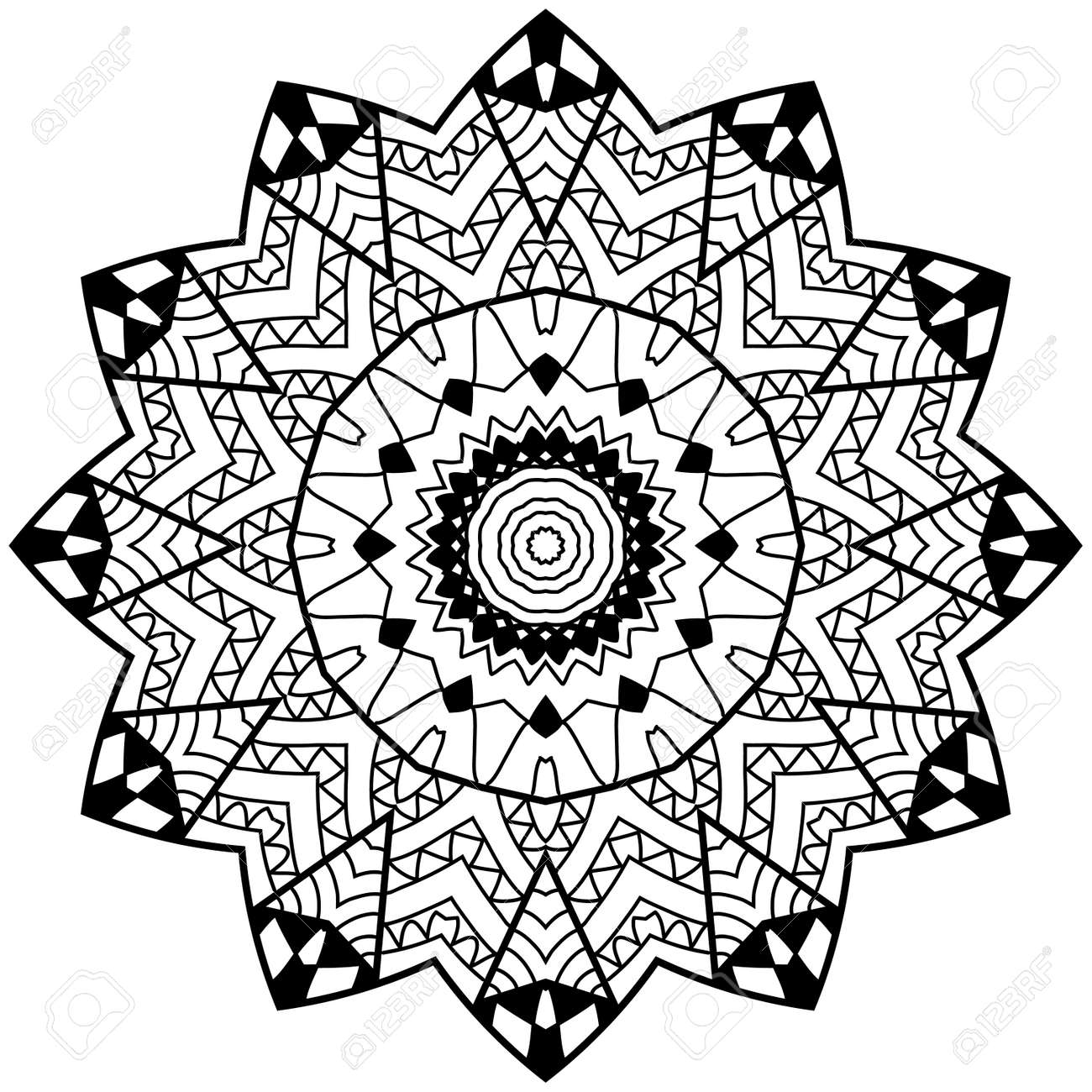 Adult Coloring Page. Floral Doodle Art. Mandala With Hand Drawn ...