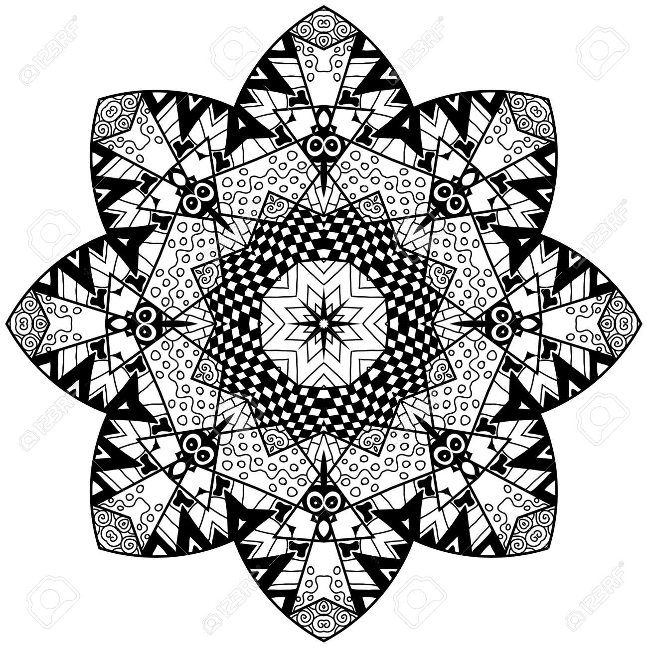 Floral Doodle Art Mandala With Hand Drawn Patterns. Mandala In ...
