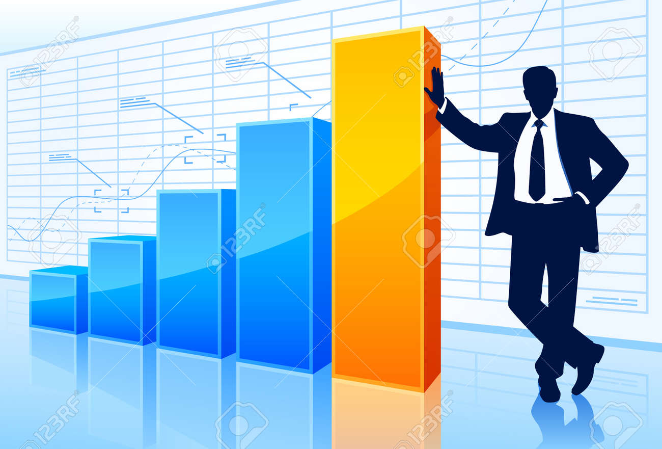 Successful businessman with rising chart. Stock Vector - 16582478