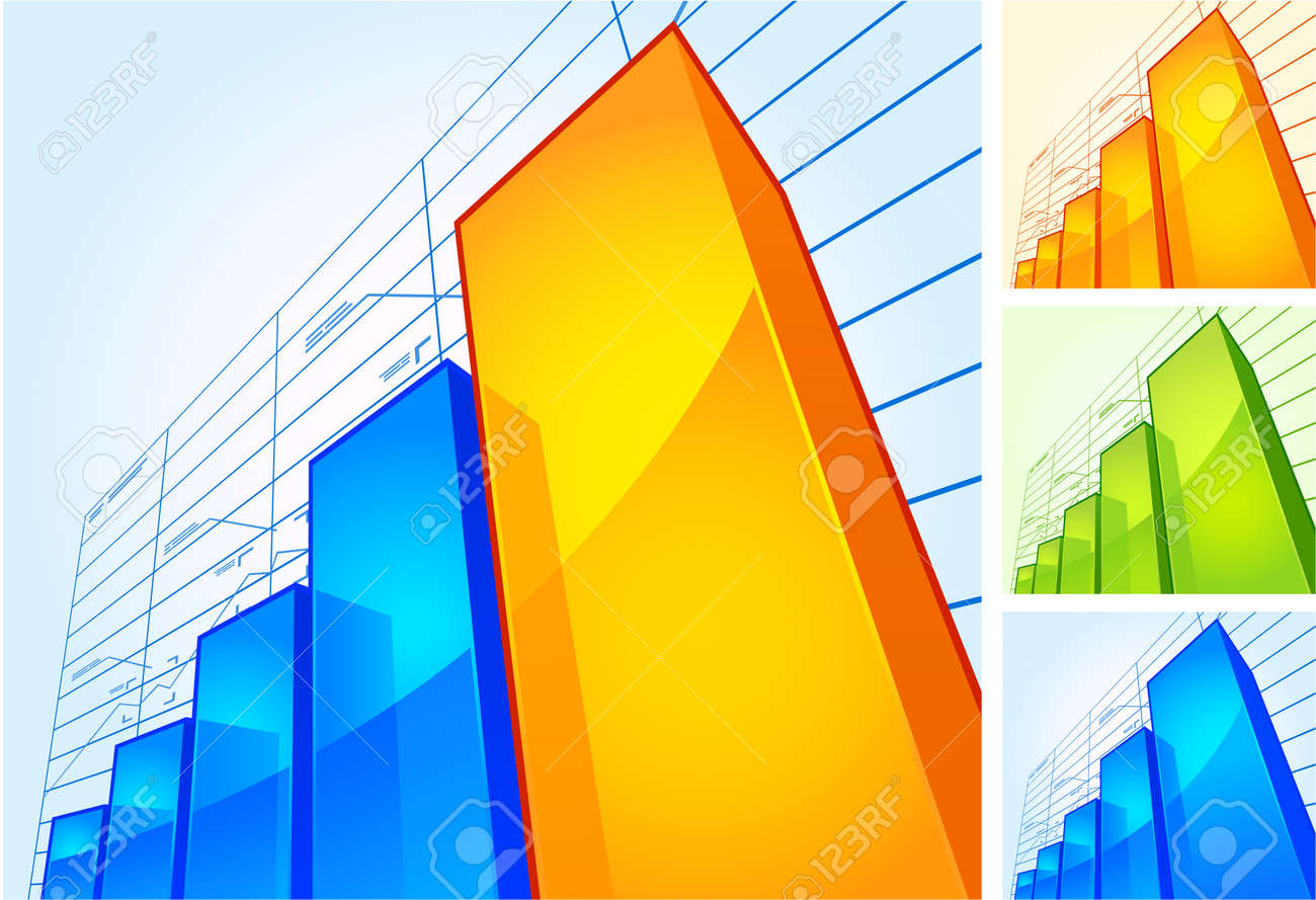 Growing chart of different colors Stock Vector - 16999809