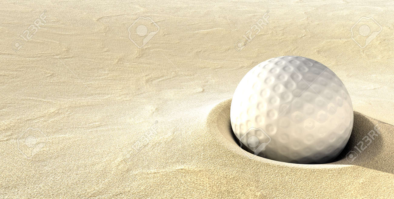 plugged golf ball a ball plugged deep in a sand bunker stock