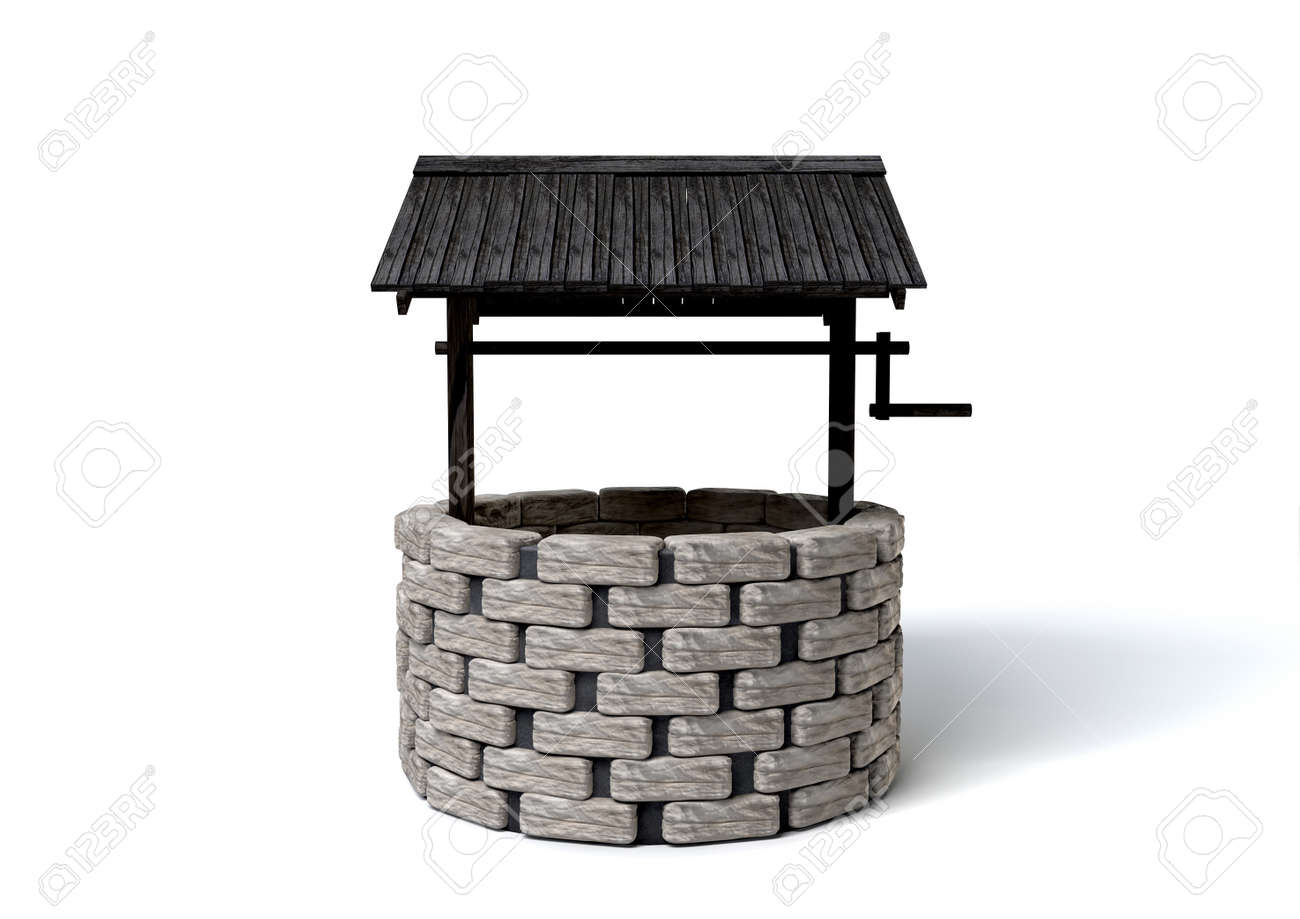 An old school brick well with a rickety wooden roof covering Stock Photo - 14021181