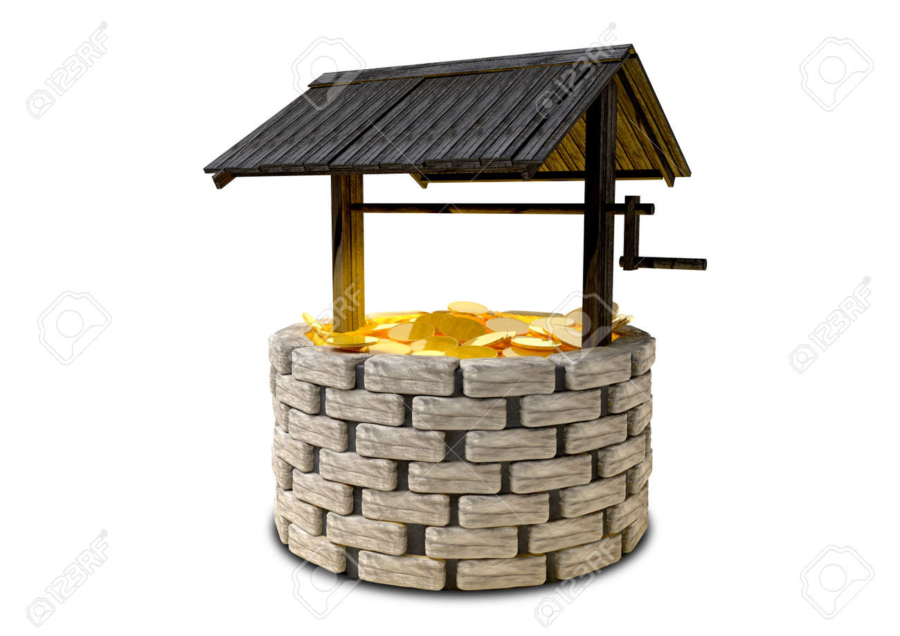 an old school brick wishing well with a wooden roof covering stock