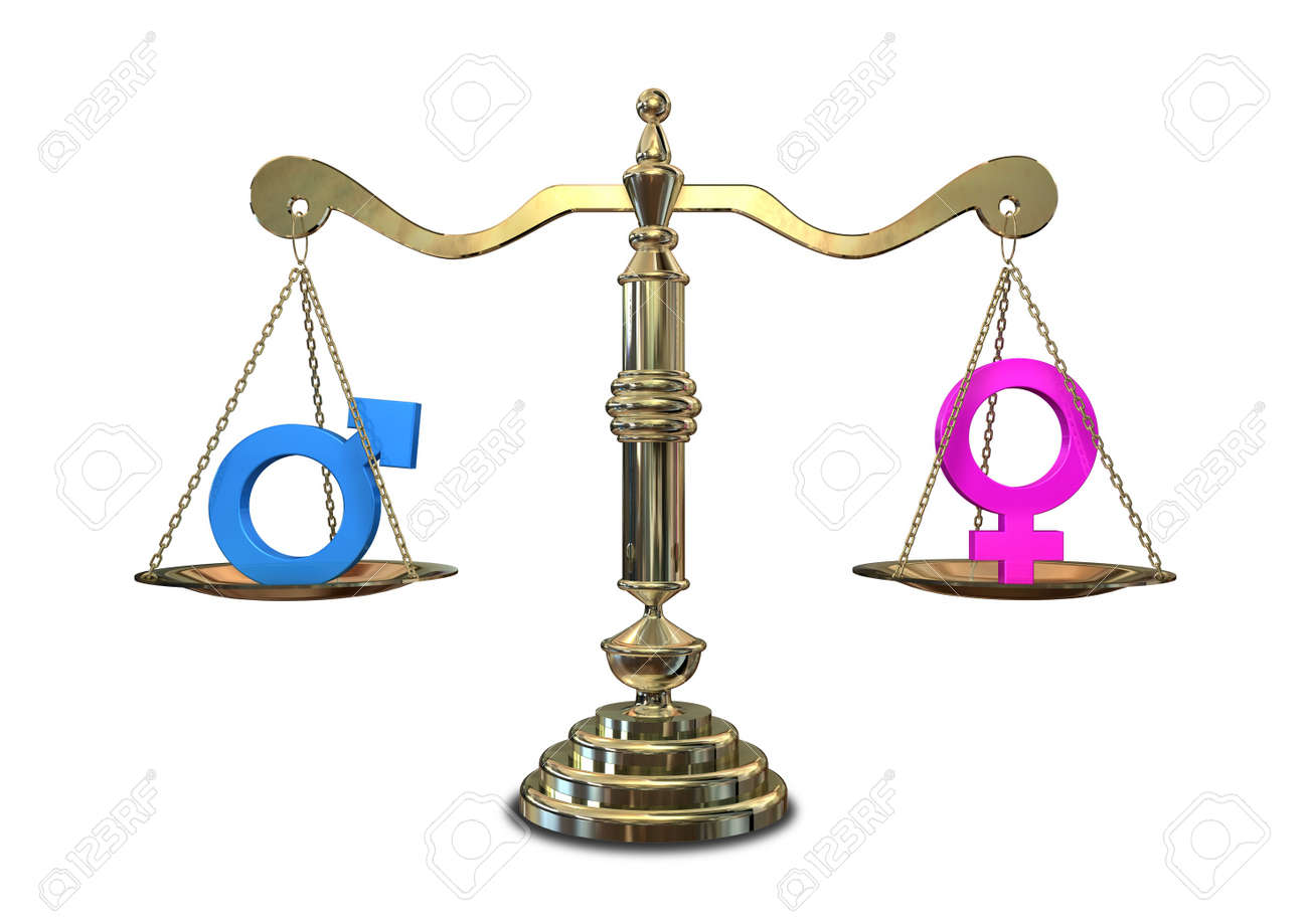 A gold justice scale with the two different gender symbols on a gold justice scale with the two different gender symbols on either side balancing each other buycottarizona