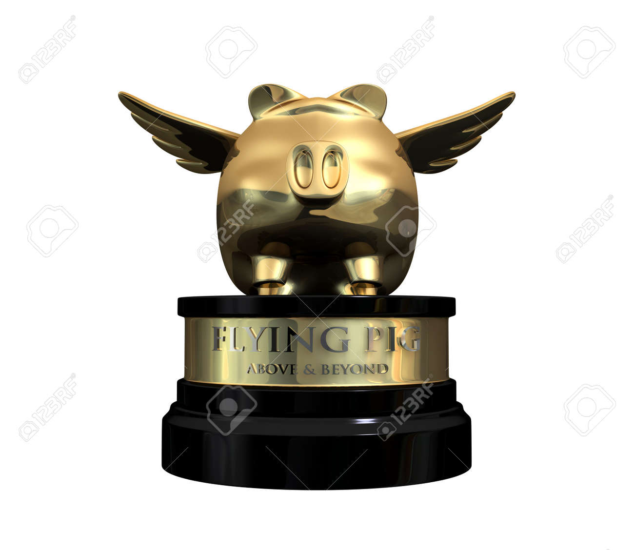 A gold trophy with a flying pig on top and the description which reads above and beyond Stock Photo - 14367563