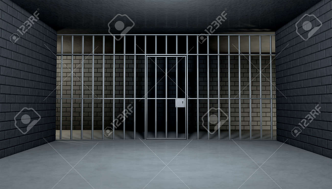 the view from the inside of a brick jail cell with iron bars stock