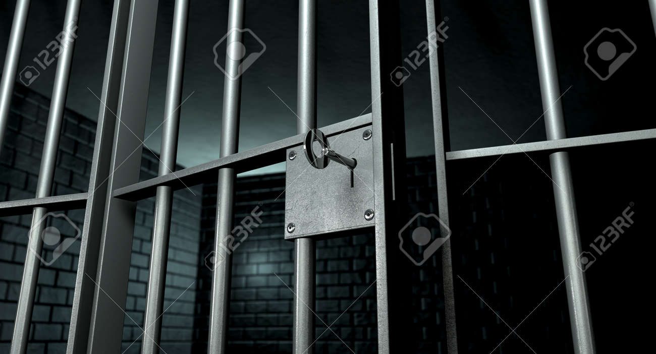 A closeup of the lock of a brick jail cell with iron bars and a key in the locking mechanism with the door open Stock Photo - 14582730