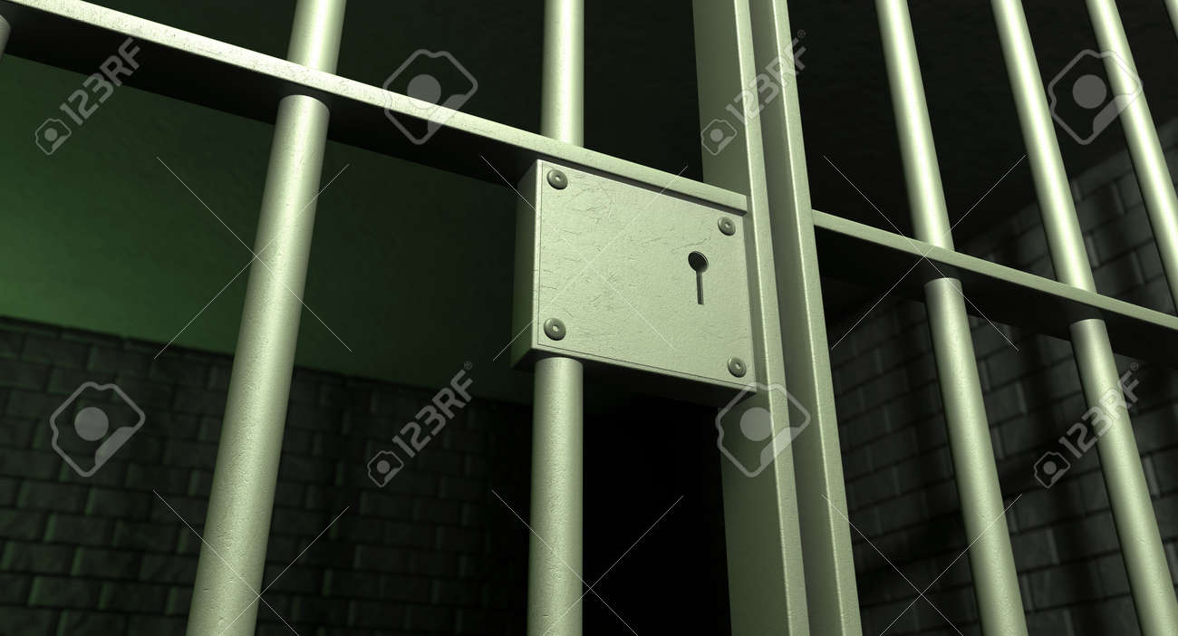 A closeup of the lock of a brick jail cell with iron bars and a door with a locking mechanism Stock Photo - 15599250