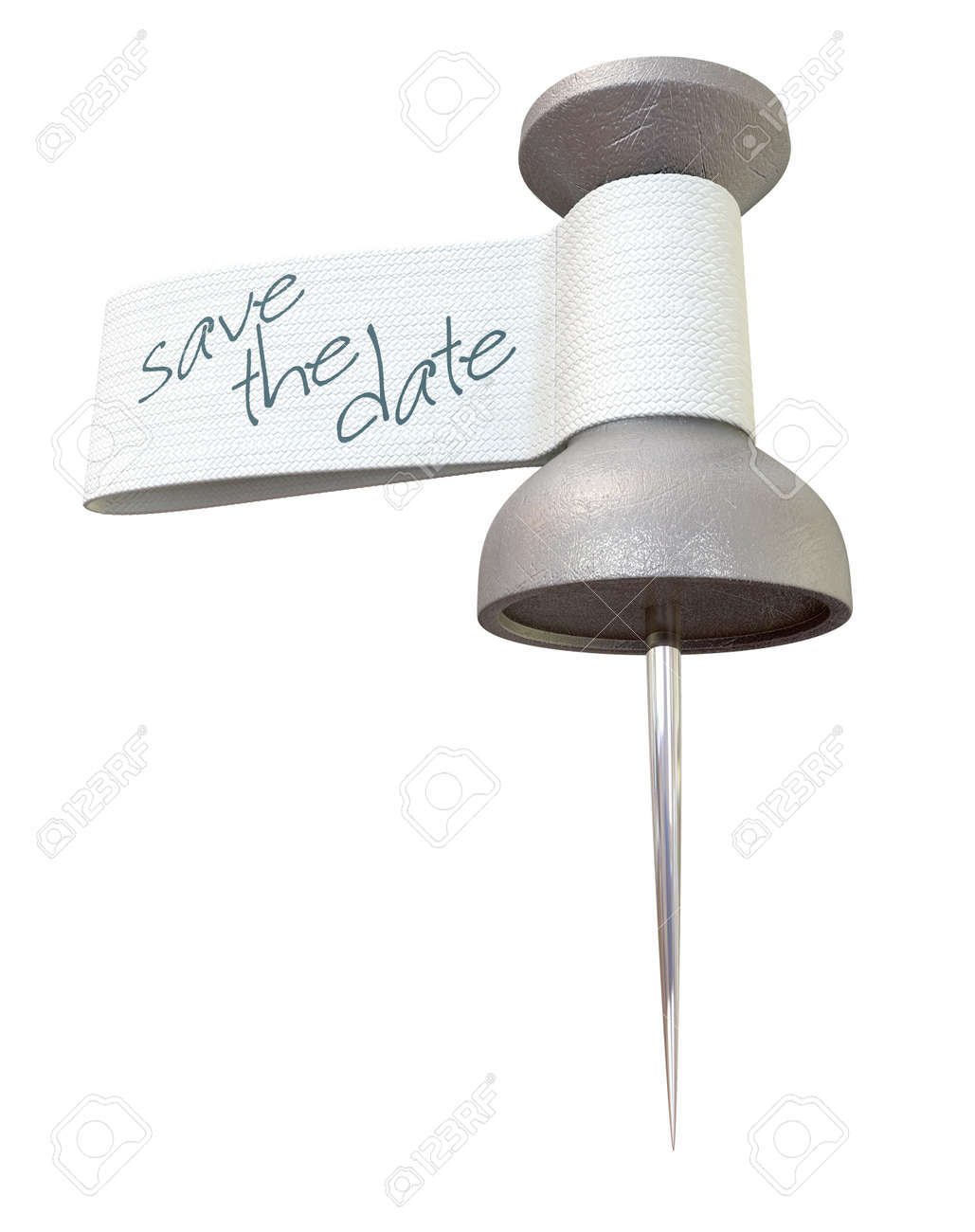 A metal thumbtack with a material tag and the words save the date written on it Stock Photo - 15616395