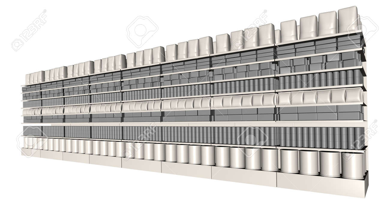 A perspective view of eight sections of supermarket shelving with generic products packed into them on an isolated background Stock Photo - 15932886