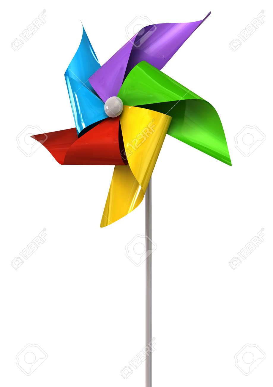 a perspective view of a regular toy pinwheel windmill with five