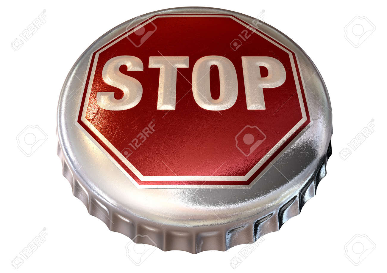A regular bottle cap with a stop sign in red embossed on the top representing bandwidth cap or alcohol limits on an isolated background Stock Photo - 16836800