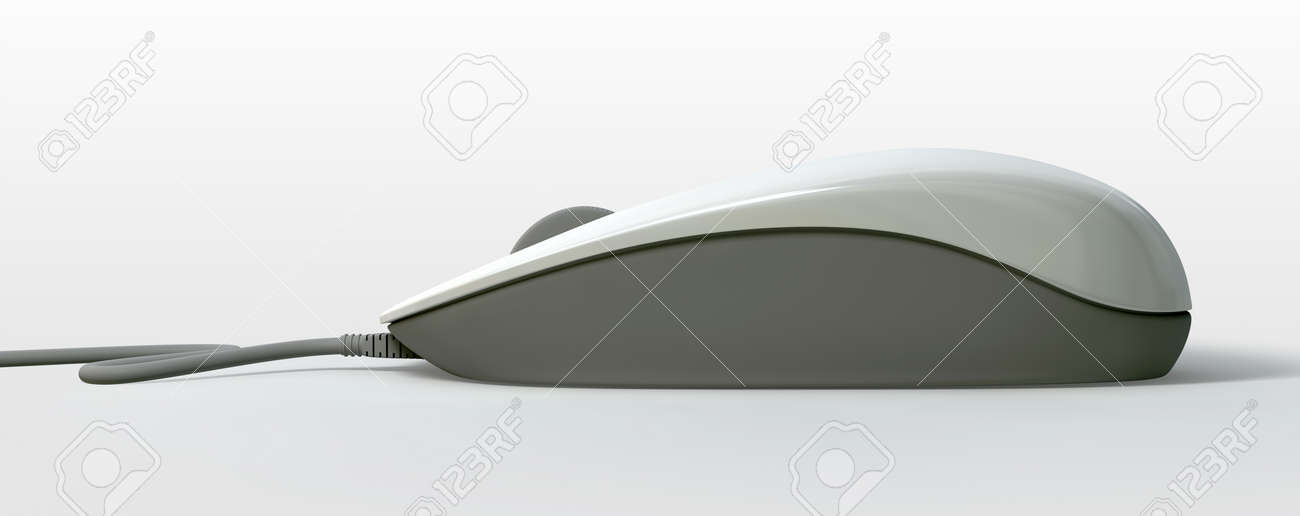A side view of a white and grey plastic computer mouse with a scolling wheel and a cable on an isolated background Stock Photo - 17236231