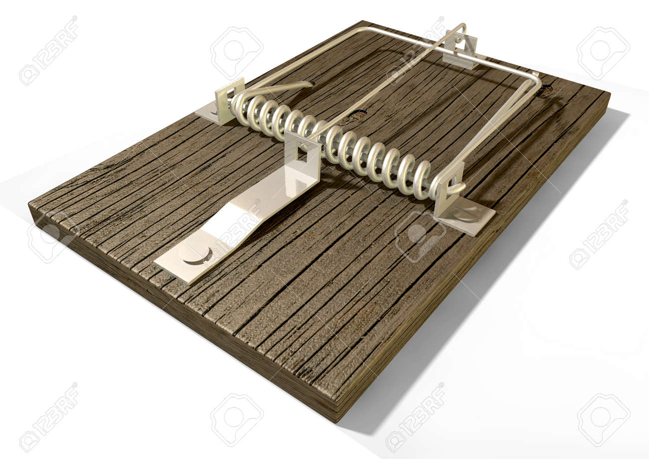 A regular wood and metal mousetrap on an isolated background Stock Photo - 17236237